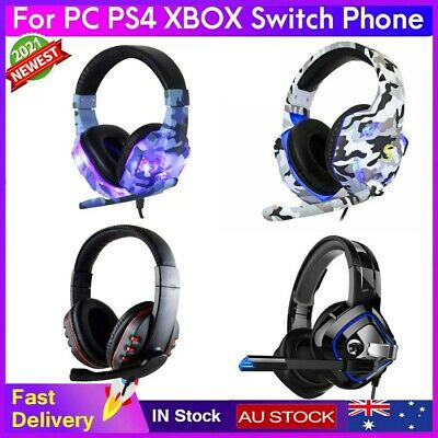 AU27.99 • Buy 3.5mm Gaming Headset With MIC LED Headphones Surround For PC Computer PS4 Xbox
