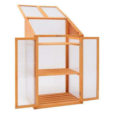 £28.99 • Buy Mini Wood Greenhouse Cold Frame Garden Veg Flowers Planting Box Plant Protection