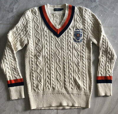 $140 • Buy NWT POLO RALPH LAUREN Men's Shield-Patch Cable-Knit V-Neck Cricket Sweater - Sm