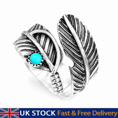 £4.48 • Buy Silver Turquoise Feather Ring Band Open Finger Fully Adjustable Jewelry UK