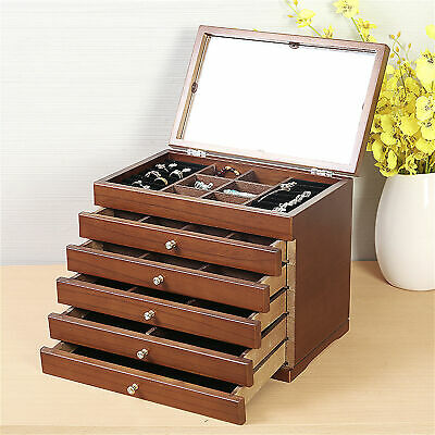 £38.52 • Buy Wooden Jewellery Box Chest Rings Necklaces Storage Organiser Cabinet Mirrored UK
