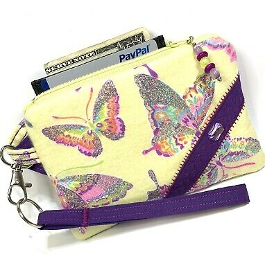 $5.85 • Buy Butterfly-Silver-Glitter-Handmade-Money-Coin-ID-Credit Card-Wristlet-Purse-Pouch
