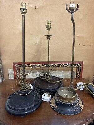 £40 • Buy 3 Antique Vintage Lamp Base,2 Oriental,chinese Style For Restoration