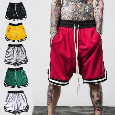 $16.42 • Buy Men's Mesh Basketball Athletic Running Shorts Gym Workout Quick Dry Zip Pockets