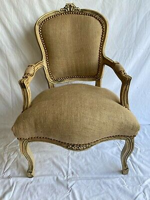 £119 • Buy Louis Xv Arm Chair French Style Chair Natural Jute Burlap Brown