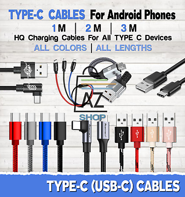 AU38.95 • Buy Type C USB-C Cable 1M / 2M / 3M USB Charger Android Phone Devices Lot ALL COLORS
