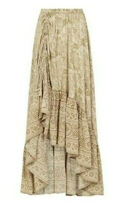 AU229 • Buy SPELL 100% ORGANIC COTTON Lioness Ruched Maxi Skirt In Smoke, Size L
