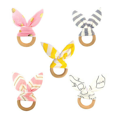 £5.22 • Buy Wooden Natural Baby Boy Girl Teething Ring Chewie Teether Bunny Ear Play Toy CA5