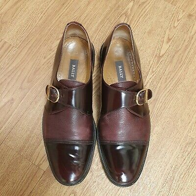 £59.99 • Buy BALLY Mens Oxblood Red Leather Monk Strap Loafers Oxford Shoes Uk 9.5 Burgundy