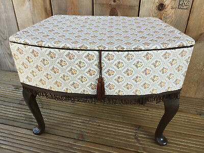 £29.99 • Buy  Vintage Very Attractive Sewing Box Foot Stool Storage & Queen Ann Style Legs