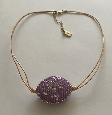 £2.50 • Buy Beautiful Envy Double Strand Peach Cord With Purple Sparkle Pendant Necklace