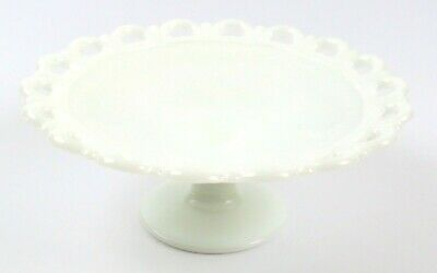 $17.99 • Buy Vintage White Footed Scalloped Lace Edge Milk Glass Bowl / Candy Dish, 11.5