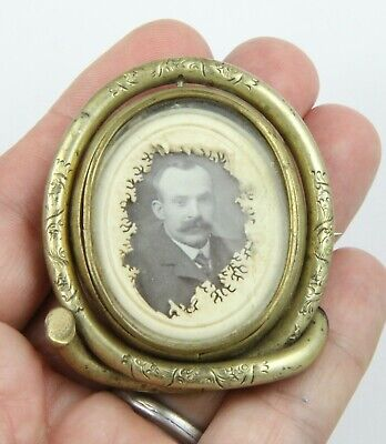 £14.99 • Buy Large Antique Victorian C 1890 Gilt Metal Reversible Memorial Picture Brooch Pin