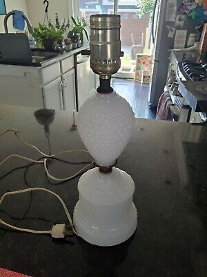 """$24 • Buy Antique Milk Glass Lamp 12"""" Tall Working"""