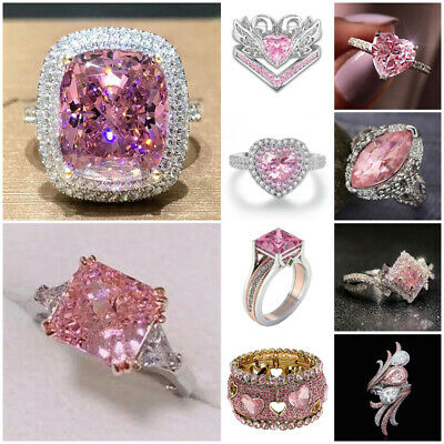 £1.64 • Buy Fashion Women Jewelry 925 Silver Pink Sapphire Ring Wedding Engagement Size 6-10
