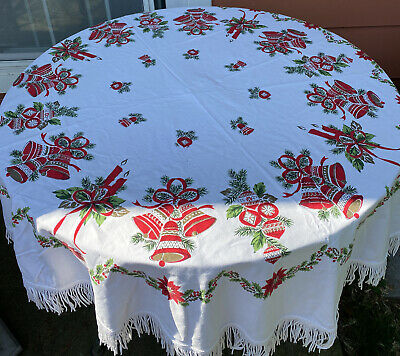 $ CDN44.05 • Buy Vintage Round Christmas Table Cloth W Fringe Red White Green - Bells Candles 60