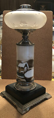 """$38.79 • Buy Victorian Oil Lamp Painted Milk Glass Cast Metal Base W/ Etched Font 14-1/2"""""""