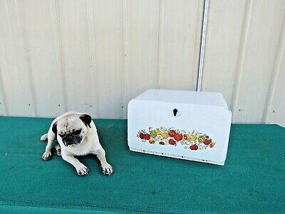 $57 • Buy Vintage 1950's Mid-Century Metal White With Color Mural Beauty Bread Tin Box