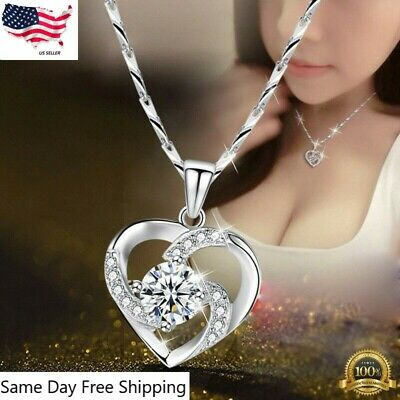 $3.85 • Buy Gorgeous 925 Silver Necklace Pendant For Women Cubic Zircon Jewelry
