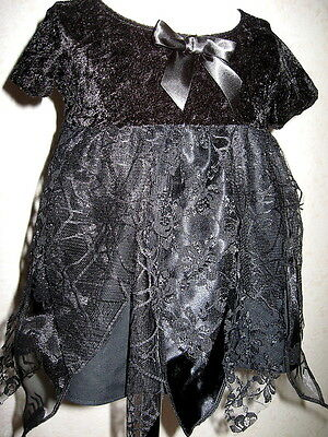 £23.50 • Buy Gothic Spiders Dress Baby Set Girls Black Web Lace Gift Party Metal Halloween Uk
