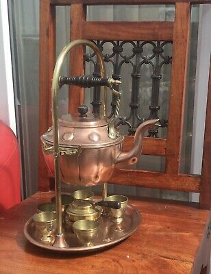 £44.99 • Buy Antique Copper & Brass Kettle With Burning Tipping Stand