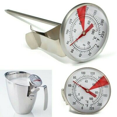 $6.86 • Buy Milk Frothing Thermometer Coffee Maker Temperature Jug Pan Clip On Steel Pod UK.