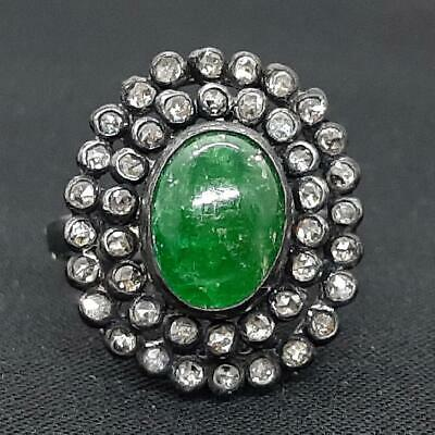 £8.28 • Buy Antique 3.45ctw Old Rose Cut F-SI Diamond & Colombian Emerald 925 Silver Ring