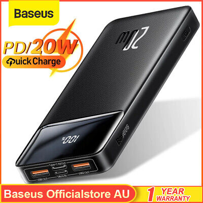 AU26.99 • Buy Baseus Portable 20000mAh Power Bank PD 20W Fast Charger Backup Battery Charger