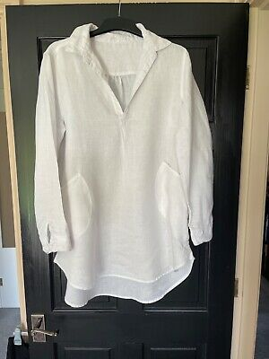 £25 • Buy The White Company White 100% Linen Top Size 14