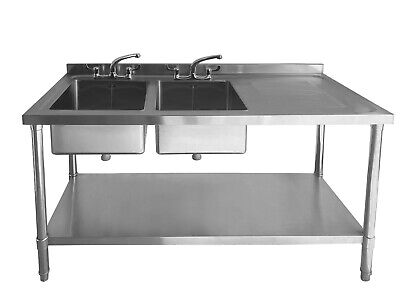 £329.99 • Buy Commercial Stainless Steel Sink - Double Bowl - 1500mm - Right Hand Drainer