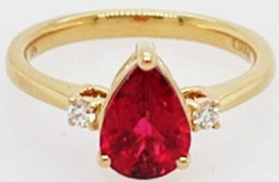 £997.99 • Buy ILIANA 18K Yellow Gold Rubellite Solitaire Ring For Womens With Diamond 0.07ct