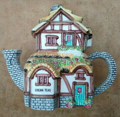 £2 • Buy Decorative Tea Pot In The Form Of A Cottage Selling Cream Teas