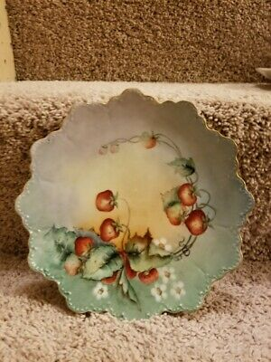 £9.45 • Buy Vintage Plate R.c. Signed On Back And Dated Hand Painted Strawberry Design Nice