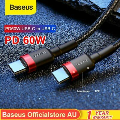 AU5.99 • Buy Baseus USB C Type-C To Type-C PD 60W Fast Charger Data Cable For Samsung Macbook