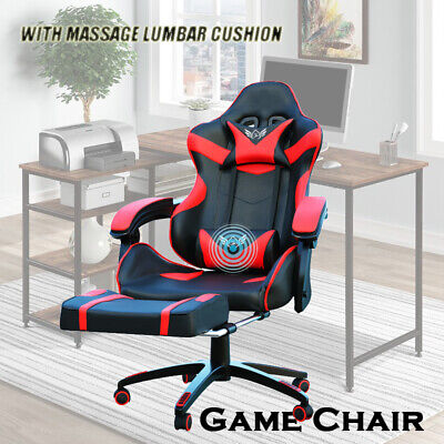 AU139 • Buy Deluxe Gaming Chair Footrest Office Computer Racing Pu Leather Red