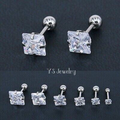 $9.45 • Buy Mens Womens Silver Square Cubic Zirconia Stud Earrings Screw Back Surgical Steel