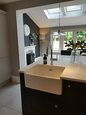 £50 • Buy White Rangemaster Belfast Sink With Defects But Working, Waste Kit Included