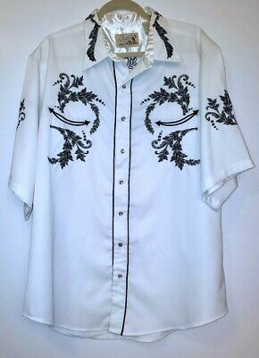 $15.99 • Buy Roper Embroidered Western White  Shirt 2XL Short Sleeve