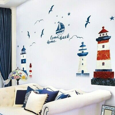 £8.18 • Buy Blue Nautical Boat Seagull Sea Ocean Style Home Wall Sticker Decal Decor Display