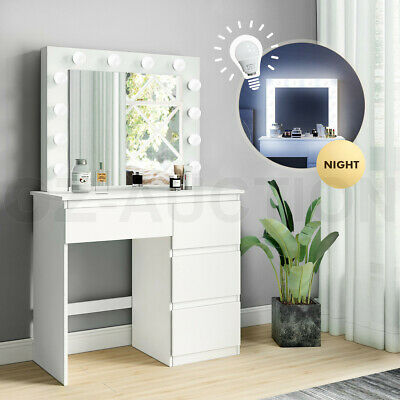 AU239.95 • Buy Dressing Table Mirror Makeup Jewellery Cabinet 4 Drawers With Light Bulbs White