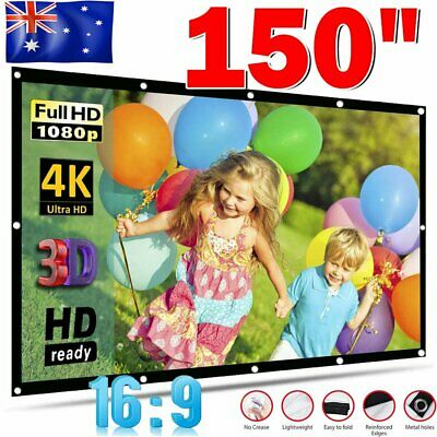 AU26.89 • Buy 150  Foldable Projector Screen Portable Outdoor Home 3D Movie Cinema 16:9 AU New