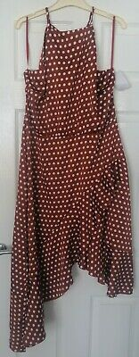 £10.58 • Buy Womens New Gypsy Style Brown Polka Dot Frill Forever Unique Dress Size 16