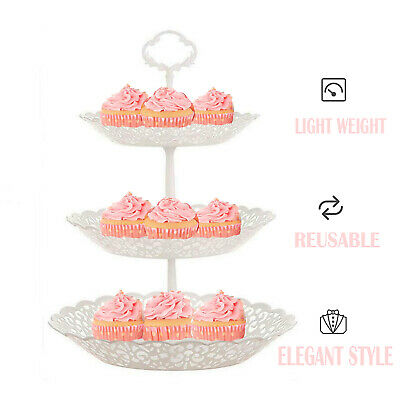 £5.90 • Buy 3 Tier  Cake Stand Afternoon Tea Wedding Plates Party Embossed Tableware White