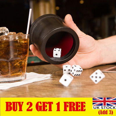 £5.60 • Buy Black/Red Leather Dice Cup Felt Lining Quiet Shaker For Playing Dice Game UK