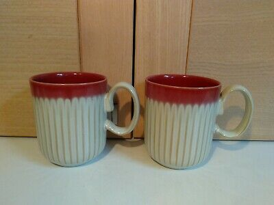 £17 • Buy Denby Fluted 2 Red And Cream Mugs