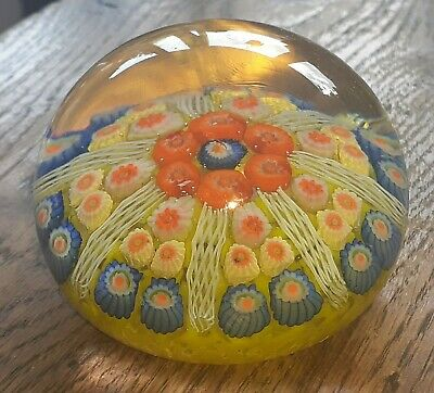 £4.30 • Buy Strathearn Twisted Canes Millefiori Paperweight Yellow & Red With Frit Base VGC