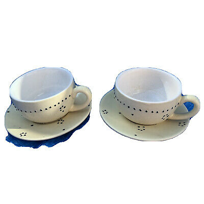 £4 • Buy Expresso Demitasse X2  Coffee Cups And Saucers French  Country Vibe Stoneware