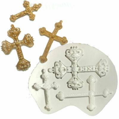£4.39 • Buy Cross Silicone Fondant Mould Chocolate Jelly Cake Baking Topper Decoration Mold
