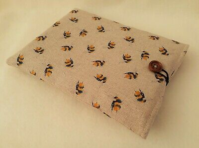 £8 • Buy Handmade Book Sleeve Cover Kindle Tablet Pouch Padded Protector Bees Fabric