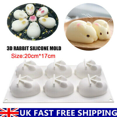 £6.29 • Buy Rabbit Bunny Silicone Cake Fondant Mold Wax Clay Soap 3D Candle Making Mould UK